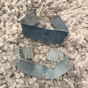 Denim chokers set of 2